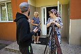 Islam Baskhanov. Malgorzata Niedzielska. Aiset Garsieva. Refugee Center Grotniki. 2015.07.30. Grotniki, near Łódź. Poland