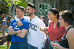 Duke students enjoy the Mezcla Cultural Showcase on the Abele Quad during Latino Student Recruitment Weekend.