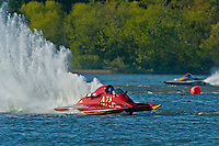 "Shaun Cassidy, A-73 ""CP Racing"", 2.5 Mod class hydroplane and Buster Graham, A-66 ""Mr. Bud III"", 2.5 Mod hydroplane"
