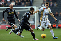 Rhys Healey of MK Dons and Jared Hodgkiss of Macclesfield Town during MK Dons vs Macclesfield Town, Sky Bet EFL League 2 Football at stadium:mk on 17th November 2018