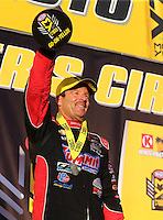Feb 14, 2016; Pomona, CA, USA; NHRA pro stock driver Greg Anderson celebrates after winning the Winternationals at Auto Club Raceway at Pomona. Mandatory Credit: Mark J. Rebilas-USA TODAY Sports