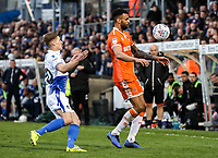 Blackpool's Curtis Tilt competing with Bristol Rovers' Gavin Reilly <br /> <br /> Photographer Andrew Kearns/CameraSport<br /> <br /> The EFL Sky Bet League Two - Bristol Rovers v Blackpool - Saturday 2nd March 2019 - Memorial Stadium - Bristol<br /> <br /> World Copyright © 2019 CameraSport. All rights reserved. 43 Linden Ave. Countesthorpe. Leicester. England. LE8 5PG - Tel: +44 (0) 116 277 4147 - admin@camerasport.com - www.camerasport.com