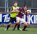 Stenny's Sean Lynch holds off Stranraer's Scott Rumsby.