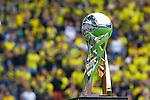 13.08.2014, Signal Iduna Park , Dortmund, GER, DFL-Supercup, Borussia Dortmund vs. FC Bayern Muenchen / M&uuml;nchen, im Bild: Der DFL-Supercup mit den Fans der Dortmunder S&uuml;dkurve / Suedkurve im Hintergrund. Querformat<br /> <br /> Foto &copy; nordphoto / Grimme