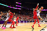 COLUMBUS, OH - MARCH 30: Victoria Vivians #35 of the Mississippi State Bulldogs shoots over Sam Fuehring #3 of the Louisville Cardinals during a semifinal game of the 2018 NCAA Division I Women's Basketball Final Four at Nationwide Arena in Columbus, Ohio. (Photo by Ben Solomon/NCAA Photos via Getty Images)