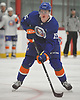 Kyle MacLean #15 scores on a penalty shot after taking a shot to the face in the final scrimmage of New York Islanders Mini Camp at Northwell Health Ice Center in East Meadow on Saturday, June 30, 2018.
