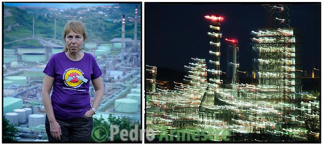 EUSKADI - SARA IBAÑEZ..Mi nombre es Sara Ibáñez, soy médica y tengo 57 años. Llevo casi 30 años atendiendo a las mujeres de mi comarca (Zona Minera - Bizkaia) en una consulta de planificación familiar y control de embarazo del Servicio Vasco de Salud (Osakidetza). Me trasladé hace 21 años a Muskiz, donde se encuentra la refinería de Petronor. Los vizcaínos siempre hemos tenido un conflicto continuo entre desarrollo industrial y medio ambiente. .El coque es un carbón de petróleo y es el primer carcinógeno conocido. Sus finas partículas entran en nuestro torrente sanguíneo y se difunden hasta los vasos más pequeños, aumentando el riesgo de cáncer, enfermedades cardiovasculares e incluso malformaciones fetales. Aunque no queremos pensar que respiramos productos tóxicos, que nuestra salud y la de nuestros hijos está en peligro, el miedo está en nuestro interior y más en mi caso, que ante cada malformación fetal que descubro pienso que quizás se deba a la contaminación que nos rodea. (c) GREENPEACE HANDOUT/PEDRO ARMESTRE- NO SALES - NO ARCHIVES - EDITORIAL USE ONLY - FREE USE ONLY FOR 14 DAYS AFTER RELEASE - PHOTO PROVIDED BY GREENPEACE - AP PROVIDES ACCESS TO THIS PUBLICLY DISTRIBUTED HANDOUT PHOTO TO BE USED ONLY TO ILLUSTRATE NEWS REPORTING OR COMMENTARY ON THE FACTS OR EVENTS DEPICTED IN THIS IMAGE