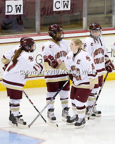 Caitlin Walsh (BC - 11), Blake Bolden (BC - 10), Tracy Johnson (BC - 5), Allie Thunstrom (BC - 9) - The University of New Hampshire Wildcats defeated the Boston College Eagles 4-1 on Sunday, February 21, 2010, at Conte Forum in Chestnut Hill, Massachusetts, splitting the weekend series.