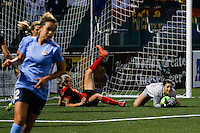 Rochester, NY - Saturday May 21, 2016: Western New York Flash goalkeeper Sabrina D'Angelo (1) controls a ball. The Western New York Flash defeated Sky Blue FC 5-2 during a regular season National Women's Soccer League (NWSL) match at Sahlen's Stadium.