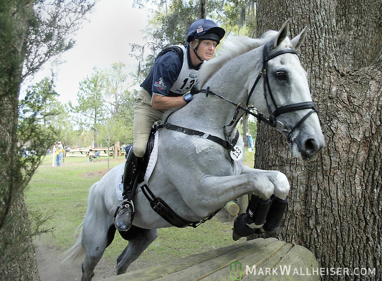 Leslie Law guides Shear L'Eau over the Devil's Triangle jump in the CIC Three-Star cross country equestrian competition March 11, 2006.