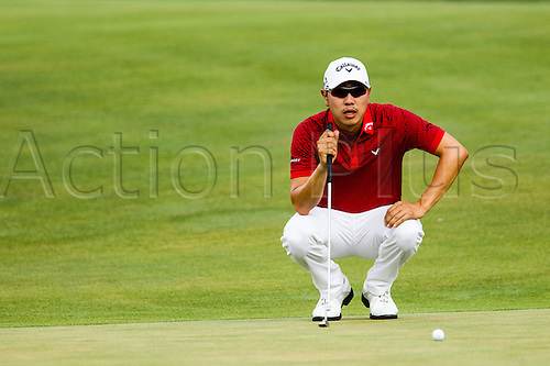 August 30, 2015: Sangmoon Bae lines up his putt on the green during the final round of The Barclays at Plainfield Country Club in Edison, NJ.