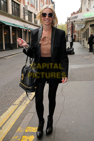 DENISE VAN OUTEN.leaving  The Ivy, London, England, UK, 14th April 2011..full length black bag jacket tights dress brown top collar beige  ankle boots  smiling sunglasses walking .CAP/IA.©Ian Allis/Capital Pictures.