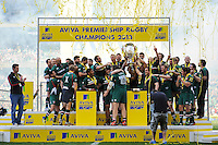 The Leicester Tigers squad celebrate becoming the Aviva Premiership 2013 Champions. Aviva Premiership Final, between Leicester Tigers and Northampton Saints on May 25, 2013 at Twickenham Stadium in London, England. Photo by: Patrick Khachfe / Onside Images