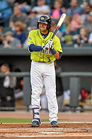 Second baseman Blake Tiberi (3) of the Columbia Fireflies bats in a game against the Augusta GreenJackets on Friday, April 6, 2018, at Spirit Communications Park in Columbia, South Carolina. Columbia won, 7-2. (Tom Priddy/Four Seam Images)