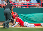 5 March 2016: Washington Nationals outfielder Matt den Dekker slides safely into third with a triple, ahead of the tag by Detroit Tigers third baseman Nick Castellanos in the 5th inning of a Spring Training pre-season game at Space Coast Stadium in Viera, Florida. The Nationals defeated the Tigers 8-4 in Grapefruit League play. Mandatory Credit: Ed Wolfstein Photo *** RAW (NEF) Image File Available ***