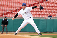 Buffalo Bisons pitcher Chris Schwinden #38 during a game against the Empire State Yankees at Coca-Cola Field on April 12, 2012 in Buffalo, New York.  Empire State defeated Buffalo 7-2.  (Mike Janes/Four Seam Images)
