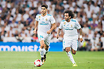 Marco Asensio Willemsen (l) of Real Madrid runs with teammate Marcelo Vieira Da Silva during their Supercopa de Espana Final 2nd Leg match between Real Madrid and FC Barcelona at the Estadio Santiago Bernabeu on 16 August 2017 in Madrid, Spain. Photo by Diego Gonzalez Souto / Power Sport Images