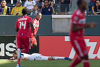 Chicago Fire forward Collins John celebrates his goal by sticking his tongue out. The Chicago Fire beat the LA Galaxy 3-2 at Home Depot Center stadium in Carson, California on Sunday August 1, 2010.