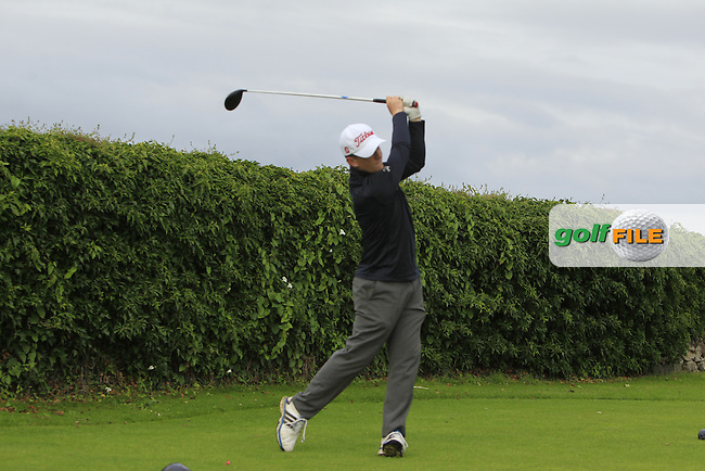 Jack McGarry (Rosslare) on the 5th tee during Round 3 of the 2016 Connacht U18 Boys Open, played at Galway Golf Club, Galway, Galway, Ireland. 07/07/2016. <br /> Picture: Thos Caffrey | Golffile<br /> <br /> All photos usage must carry mandatory copyright credit   (&copy; Golffile | Thos Caffrey)