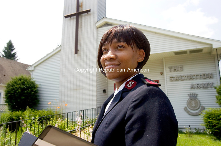 TORRINGTON CT. 24 July 2014-072514SV09-Capt. Rene Jarvis-Hovatter is the new leader for the Northwest Hills Salvation Army in Torrington. She is a pastor and in charge of the Salvation Army's social services. This is Jarvis-Hovatter outside the Salvation Army in Torrington Friday.<br /> Steven Valenti Republican-American