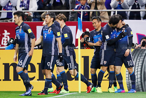 Japan team group (JPN), <br /> MARCH 28, 2017 - Football / Soccer : <br /> FIFA World Cup Russia 2018 Asian Qualifier <br /> Final Round Group B <br /> between Japan 4-0 Thailand <br /> at Saitama Stadium 2002, Saitama, Japan. <br /> (Photo by Yohei Osada/AFLO)