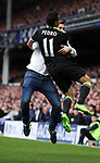 Pedro of Chelsea celebrates scoring with a fan during the English Premier League match at Goodison Park , Liverpool. Picture date: April 30th, 2017. Photo credit should read: Lynne Cameron/Sportimage