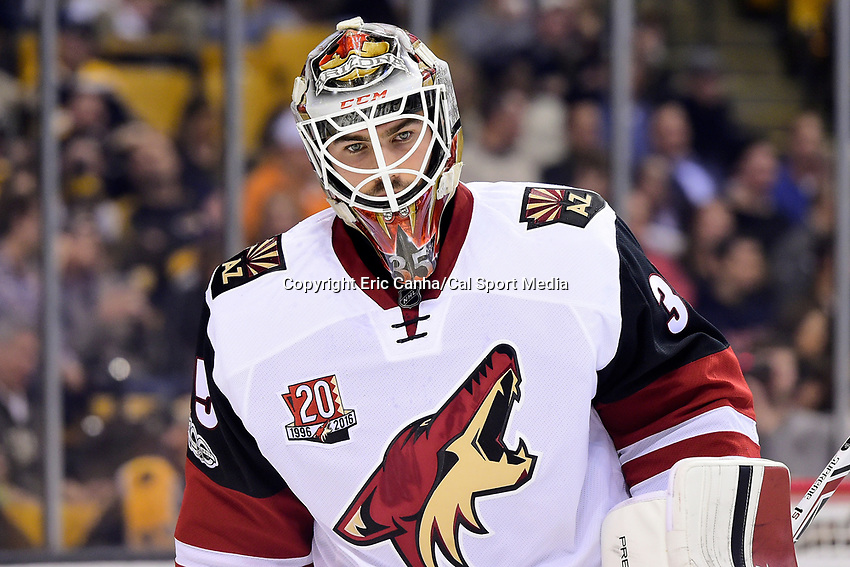 Tuesday, February 28, 2017: Arizona Coyotes goalie Louis Domingue (35) waits for game action to resume during the National Hockey League game between the Arizona Coyotes and the Boston Bruins held at TD Garden, in Boston, Mass. Boston defeats Arizona 4-1. Eric Canha/CSM