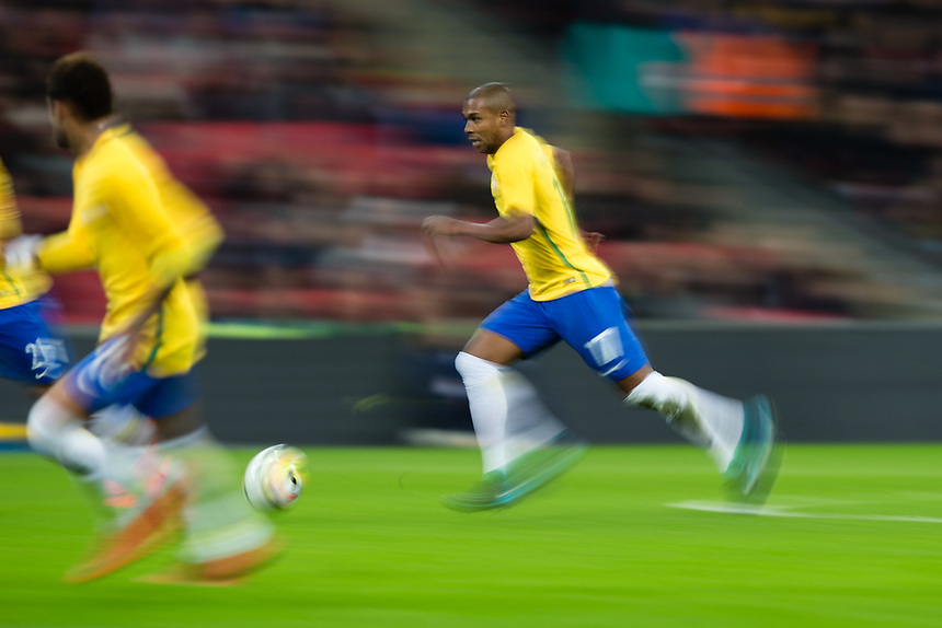 Brazil&rsquo;s Fernandinho in action <br /> <br /> Photographer Craig Mercer/CameraSport<br /> <br /> The Bobby Moore Fund International - England v Brazil - Tuesday 14th November 2017 Wembley Stadium - London  <br /> <br /> World Copyright &copy; 2017 CameraSport. All rights reserved. 43 Linden Ave. Countesthorpe. Leicester. England. LE8 5PG - Tel: +44 (0) 116 277 4147 - admin@camerasport.com - www.camerasport.com