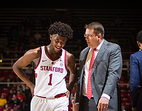 STANFORD, CA - January 26, 2019: Daejon Davis, Jerod Haase at Maples Pavilion. The Stanford Cardinal defeated the Colorado Buffaloes 75-62.