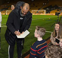 4th January 2020; Molineux Stadium, Wolverhampton, West Midlands, England; English FA Cup Football, Wolverhampton Wanderers versus Manchester United; Wolverhampton Wanderers Head Coach Nuno Espirito Santo signing autographs before the match - Strictly Editorial Use Only. No use with unauthorized audio, video, data, fixture lists, club/league logos or 'live' services. Online in-match use limited to 120 images, no video emulation. No use in betting, games or single club/league/player publications