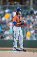 Durham Bulls starting pitcher Brent Honeywell (21) looks to his catcher for the sign against the Charlotte Knights at BB&T BallPark on May 16, 2017 in Charlotte, North Carolina.  The Knights defeated the Bulls 5-3. (Brian Westerholt/Four Seam Images)