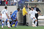 20 March 2008: Jose Manuel Contreras (GUA) (10) controls in front of Guatemala U-23 head coach Rodrigo Kenton (right). The Honduras U-23 Men's National Team defeated the Guatemala U-23 Men's National Team 6-5 on penalty kicks after a 0-0 overtime tie at LP Field in Nashville,TN in a semifinal game during the 2008 CONCACAF Men's Olympic Qualifying Tournament. With the penalty kick victory, Honduras qualifies for the 2008 Beijing Olympics.