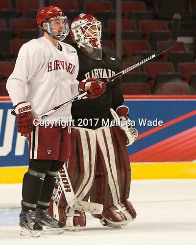 Ryan Donato (Harvard - 16), Cameron Gornet (Harvard - 32) - The Harvard University Crimson practiced at the United Center on Wednesday, April 5, 2017, in Chicago, Illinois.