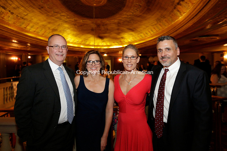 Waterbury, CT- 01 April 2016-040116CM12- Social moments from left to right, Mark and Karyn Thompson of Cheshire, with Kim and Anthony Ferraiolo also from Cheshire, are photographed during Acts 4 Ministry's annual fundraising reception at the Palace Theater in Waterbury on Friday, April 1st.   Christopher Massa Republican-American