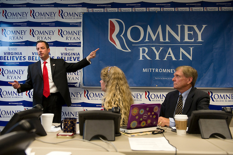 UNITED STATES - OCTOBER 25: Republican National Committee chairman Reince Priebus rallies volunteers at a Romney campaign office in Arlington, Virginia. With 13 days until Election Day, the presidential campaign remains a very tight race. (Photo by Chris Maddaloni/CQ Roll Call)