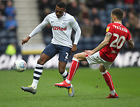 Preston North End's Darnell Fisher  in action with Bristol City's Jamie Paterson<br /> <br /> Photographer Mick Walker/CameraSport<br /> <br /> The EFL Sky Bet Championship - Preston North End v Bristol City - Saturday 2nd March 2019 - Deepdale Stadium - Preston<br /> <br /> World Copyright © 2019 CameraSport. All rights reserved. 43 Linden Ave. Countesthorpe. Leicester. England. LE8 5PG - Tel: +44 (0) 116 277 4147 - admin@camerasport.com - www.camerasport.com