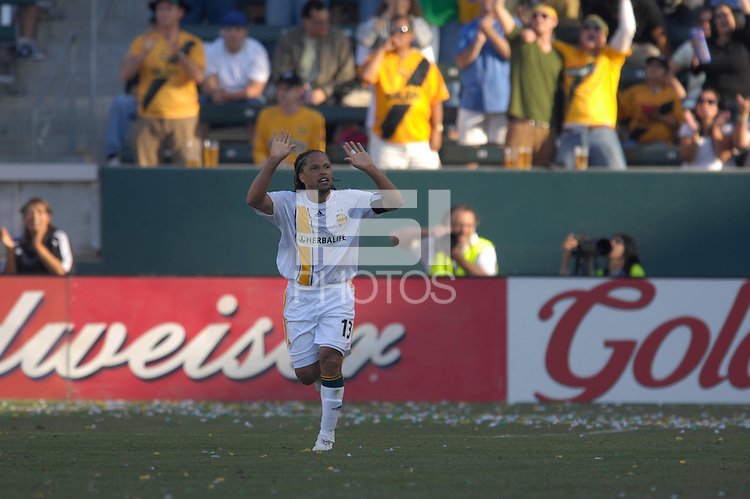 Cobi Jones celebrates his goal. The Los Angeles Galaxy defeated Real Salt Lake, 3-2, at the Home Depot Center in Carson, CA on Sunday, June 17, 2007.