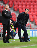 Doncaster Rovers manager Darren Ferguson, left, and Blackpool manager Gary Bowyer watch on from the sideline<br /> <br /> Photographer Chris Vaughan/CameraSport<br /> <br /> The EFL Sky Bet League Two - Doncaster Rovers v Blackpool - Keepmoat Stadium - Doncaster<br /> <br /> World Copyright &copy; 2017 CameraSport. All rights reserved. 43 Linden Ave. Countesthorpe. Leicester. England. LE8 5PG - Tel: +44 (0) 116 277 4147 - admin@camerasport.com - www.camerasport.com