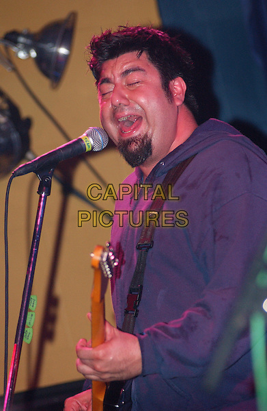 CHINO MORENO (of THE DEFTONES fame) performs with TEAM SLEEP.Performs  during a tour stop of their much anticipated first full American tour held at Mr. Smalls Theatre, Pittsburgh, PA, USA,.July 6, 2005..half length concert gig guitar music funny face eyes shut closed.Ref: ADM.www.capitalpictures.com.sales@capitalpictures.com.©Jason Nelson/AdMedia/Capital Picture