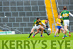 Kerry  David Moran competes with  Roscommons Enda  Smith during their NFKL Div 1 clash in Fitzgerald Stadium on Sunday