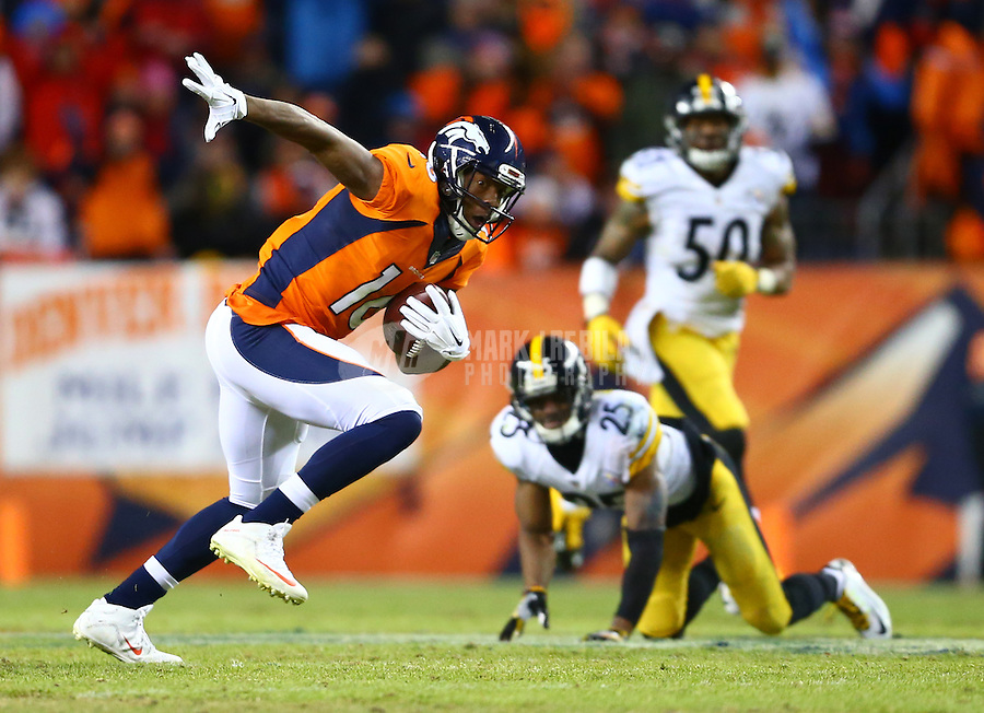 Jan 17, 2016; Denver, CO, USA; Denver Broncos wide receiver Bennie Fowler (16) against the Pittsburgh Steelers during the AFC Divisional round playoff game at Sports Authority Field at Mile High. Mandatory Credit: Mark J. Rebilas-USA TODAY Sports