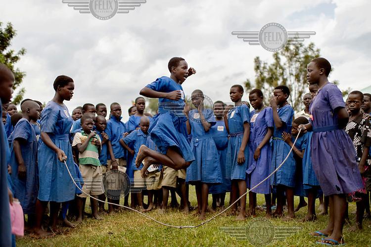 Girls skipping at Aputiri Primary School.