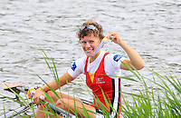 Eveline Pelleman of Belgium celebrates after winning the Lightweight Women's Single Sculls final event of the World Rowing Championships in Amsterdam, Netherlands, Friday August 29, 2014. - Photo by Paulo Amorim