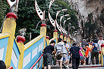 Monkeys line the steps leading up to Batu Caves on Wednesday April 24th 2013 in Kuala Lumpur, Malaysia. (Photo by Brian Garfinkel)