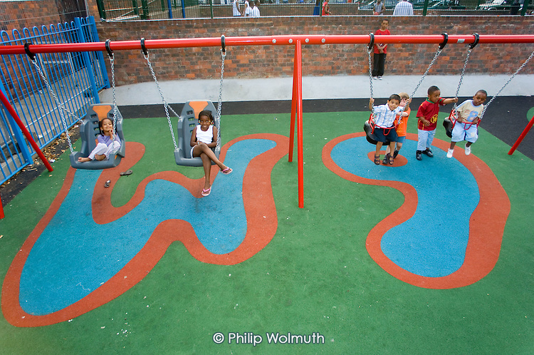 Newly refurbished playground on Lydford Estate, London W9, redesigned by the residents' association in collaboration with  Westminster City Council.