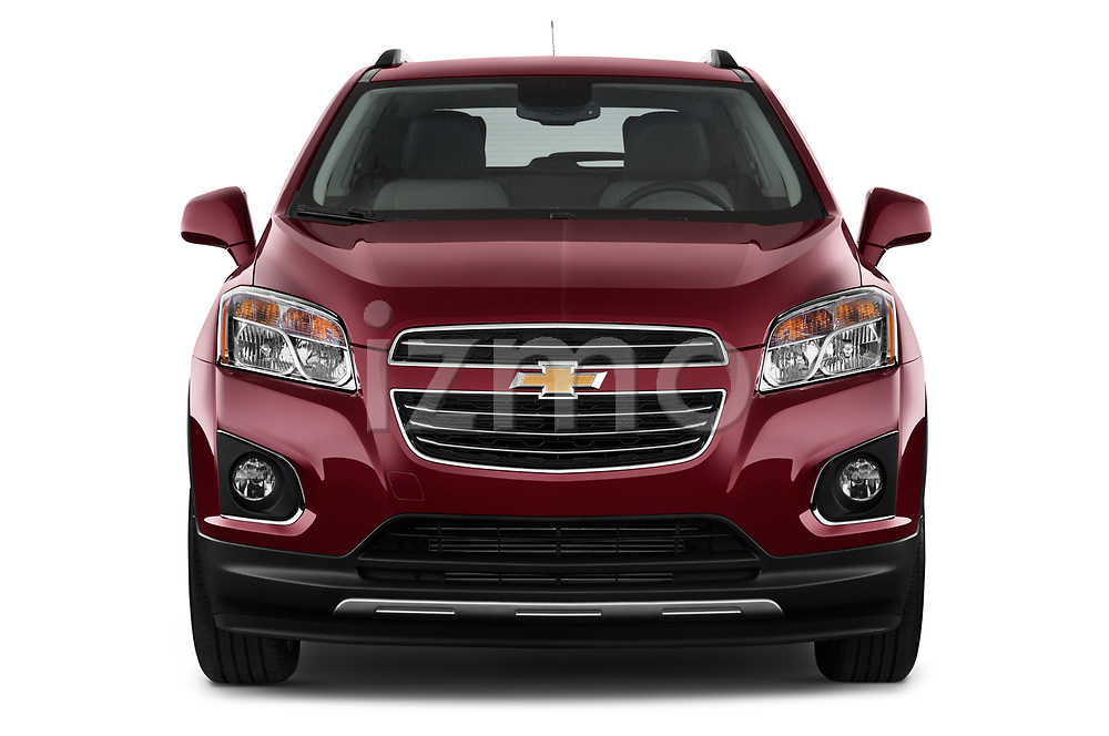 Car photography straight front view of a 2015 Chevrolet Trax LTZ 5 Door SUV Front View