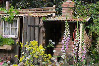 Foxglove, wildflowers, rustic garden farm shed, old ladder, tin roof, charming antique simple gardening, windowbox of herbs, outdoor fireplace, heirloom and open-pollinated flowers . Board and batten door
