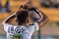 São Paulo (SP) 18/02/2019 - Futebol / Santos / Guarani - Rodrygo, jogador do Santos comemora seu gol durante partida contra o Guarani em jogo válido pela 7ª rodada do Campeonato Paulista 2019 no Estádio Municipal do Pacaembu em São Paulo, neste segunda-feira, 18. (Foto: Anderson Lira / Brazil Photo Press)