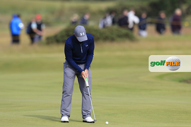 Paul DUNNE (AM)(IRL) putts on the 13th green during Sunday's Round 3 of the 144th Open Championship, St Andrews Old Course, St Andrews, Fife, Scotland. 19/07/2015.<br /> Picture Eoin Clarke, www.golffile.ie