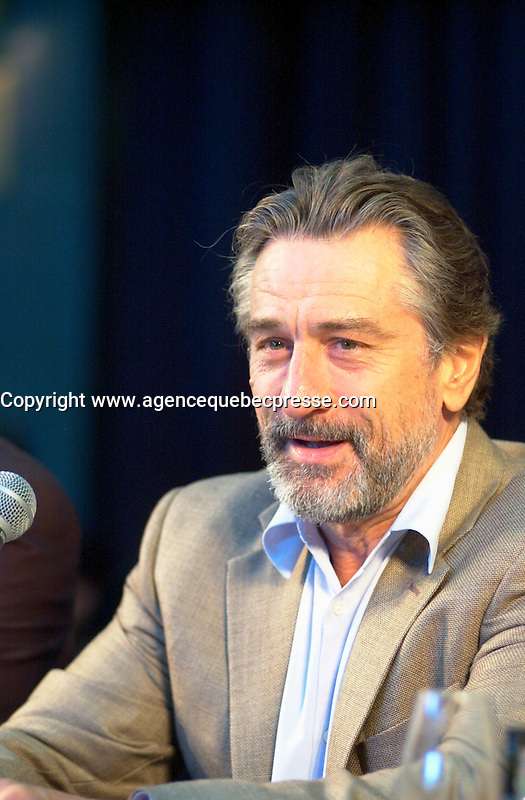 August 27, 2002, Montreal, Quebec, Canada; <br /> <br /> Robert De Niro gives a press conference, August 27, 2002, in Montreal, Canada, about the movie CITY BY THE SEA, presented in the official competition of the  26th Montreal World Film Festival<br /> <br /> Photo (c) 2002 : John Raudsepp / Images Distribution / Alamo / Sygma<br /> <br /> NOTE :  D-1  original JPEG, saved as Adobe 1998 RGB